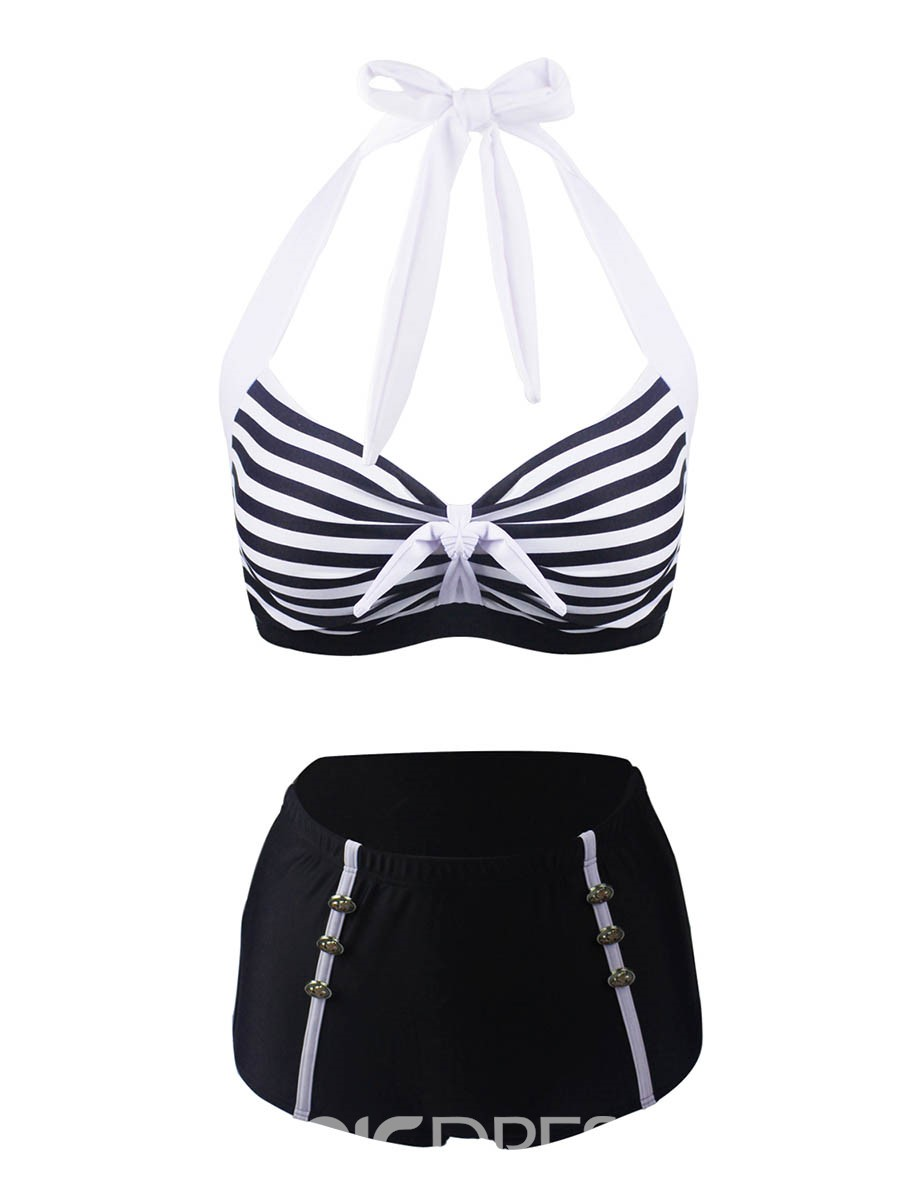 Ericdress Lace-Up Stripe High Waist Tankini Set (Plus Size Available)