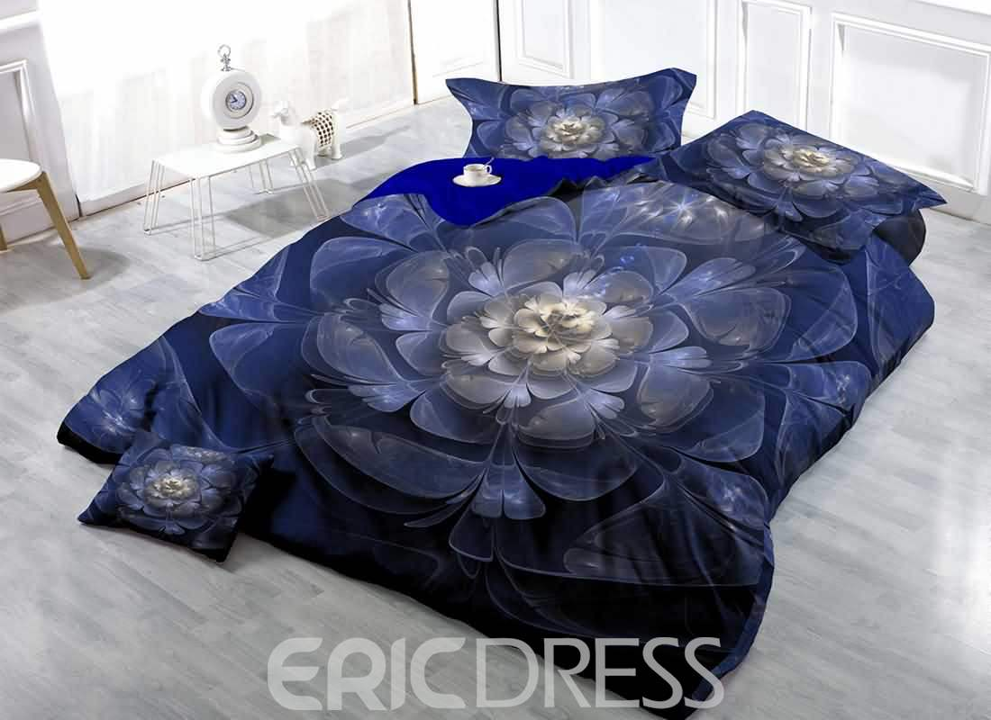 3D Blue Flower Printed Cotton 4-Piece Bedding Sets/Duvet Covers