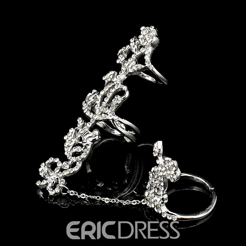 Ericdress Exquisite Rose Diamante Adjustable Ring