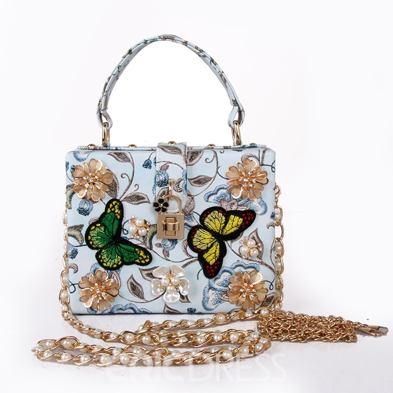 Ericdress Stylish 3D Floral Embroidery Beaded Handbag
