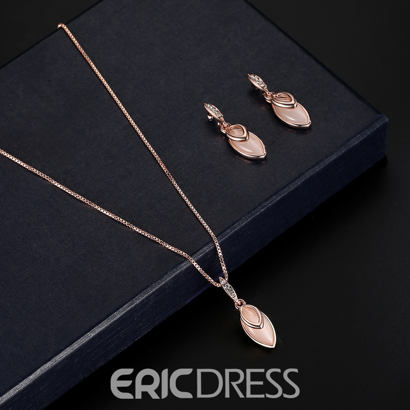 Ericdress Marquise Pendant Rose Gold Jewelry Set