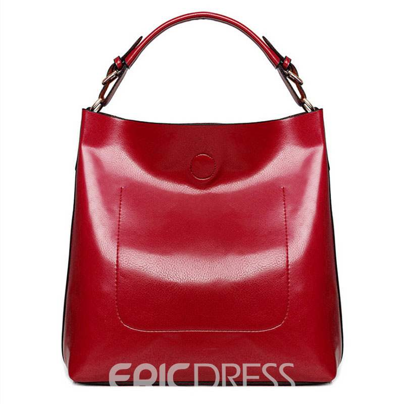 Ericdress Solid Color PU Leather Tote Bag