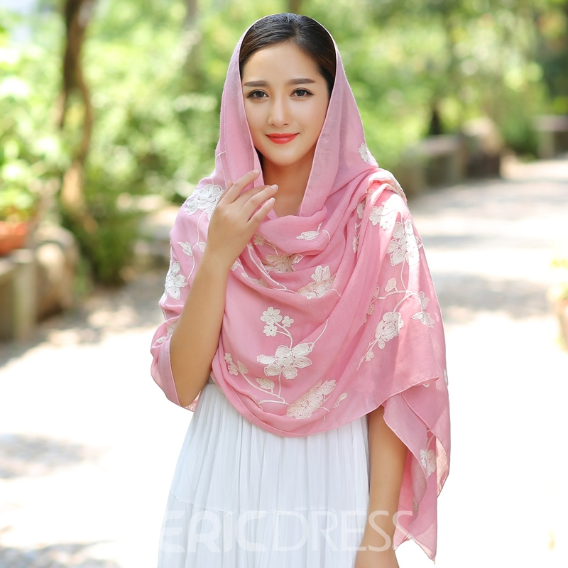 Ericdress High-End Cotton and Linen Ambroidered Big Scarf
