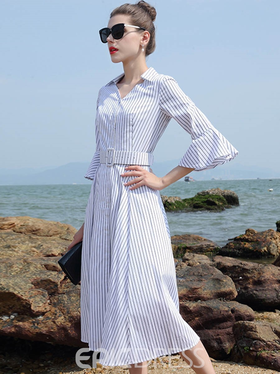 Ericdress V-Neck Flare Sleeve Belt Striped A Line Dress