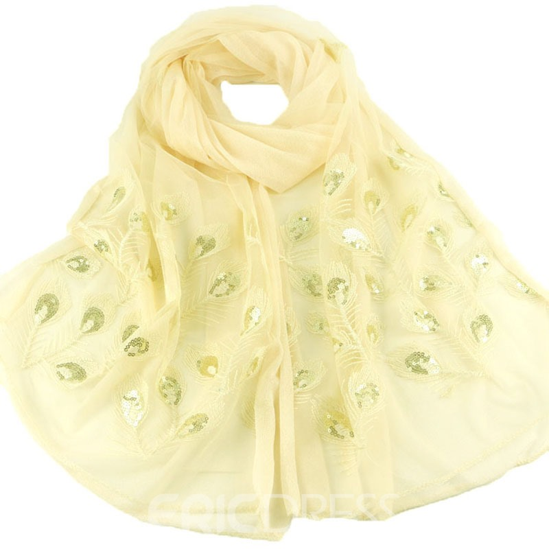Ericdress Double Layer Peacock Ambroidered Solid Scarf