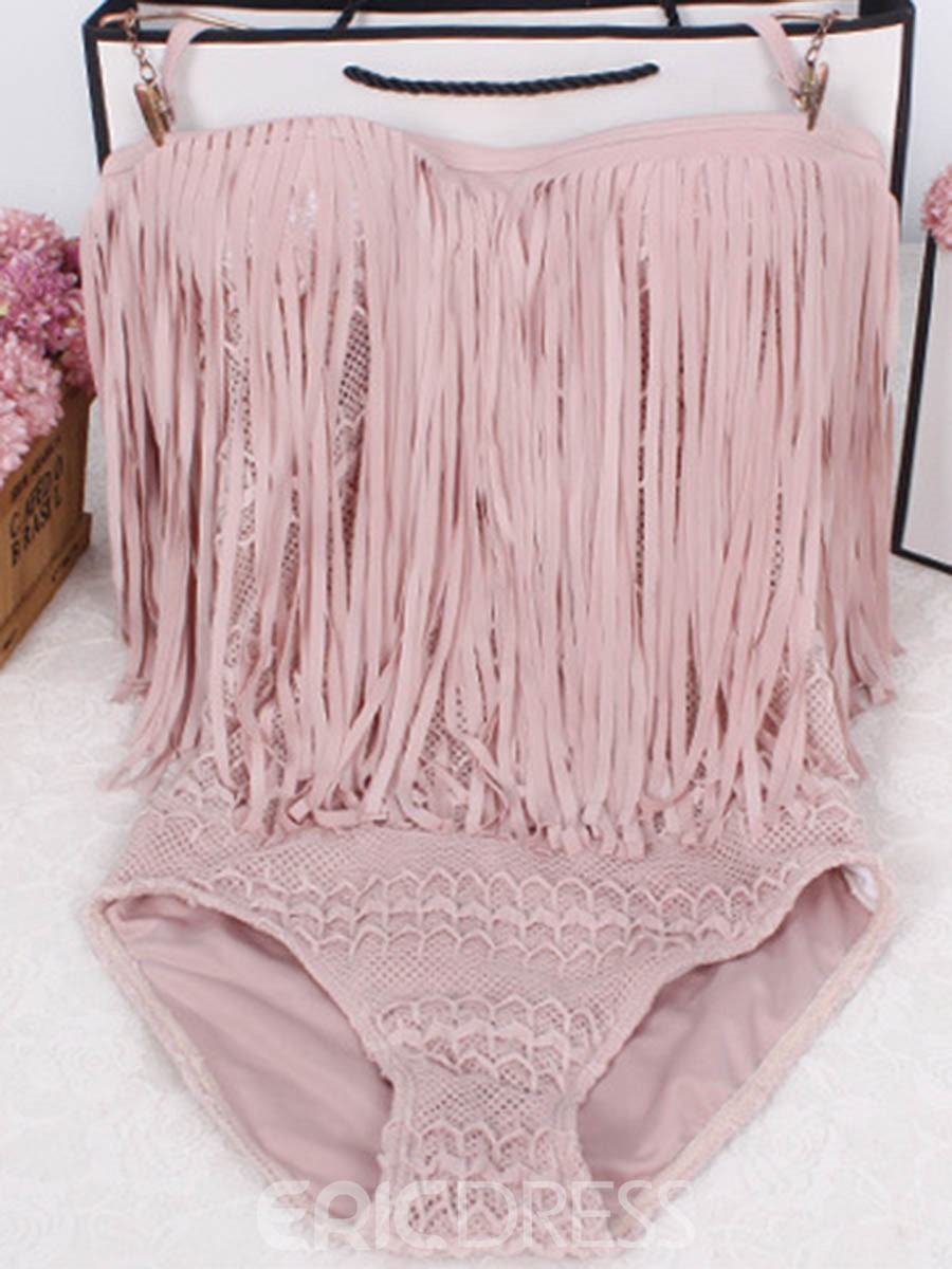 Ericdress Plain Tassel Hollow One Piece Swimwear