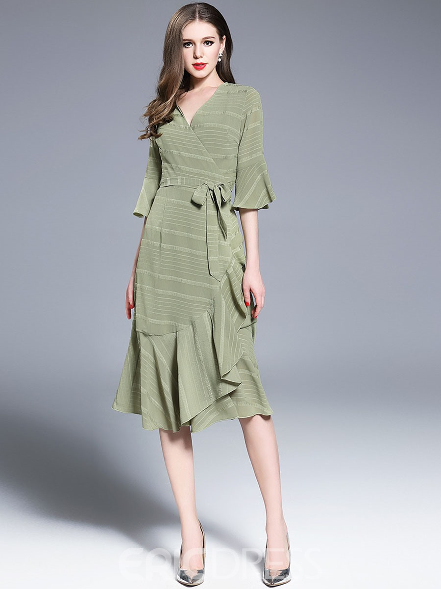 Ericdress Soft Chiffon Plain Asymmetric Rickrack Casual Dress