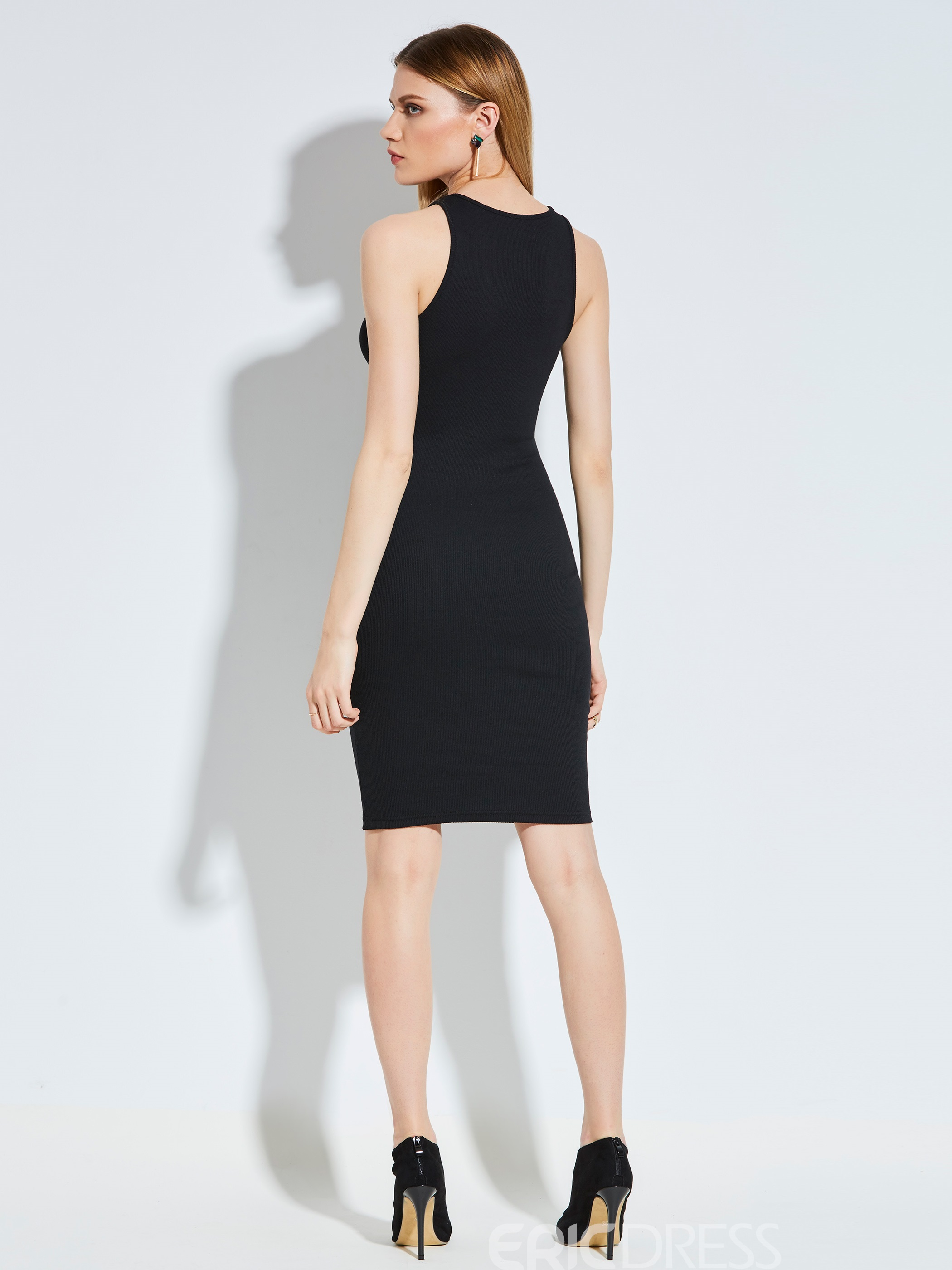 Ericdress Round Neck Plain Hollow Bodycon Dress