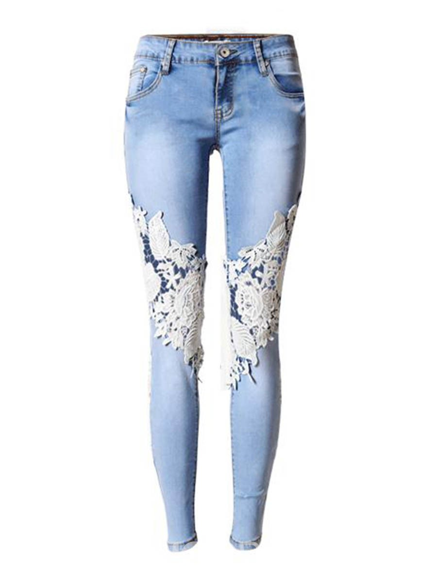 Ericdress Low Waisted Patchwork Women's Jeans