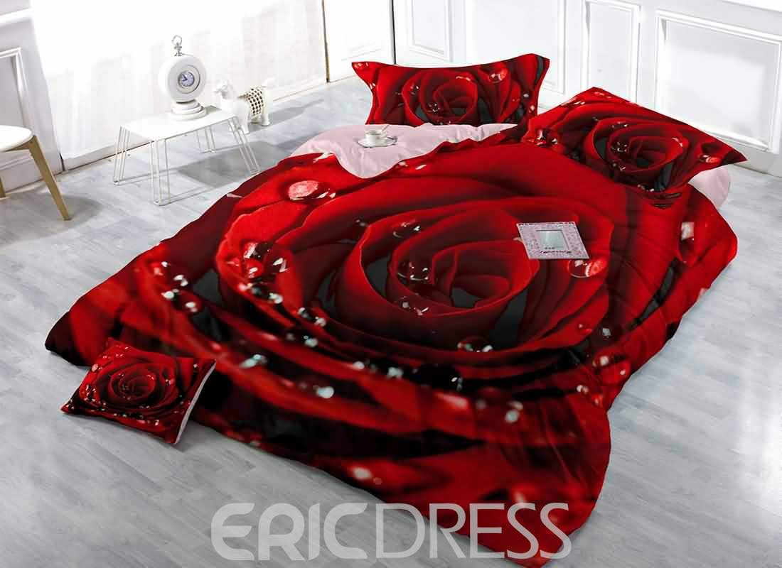 3D Red Rose with Dew Digital Printing Cotton 4-Piece Bedding Sets/Duvet Covers
