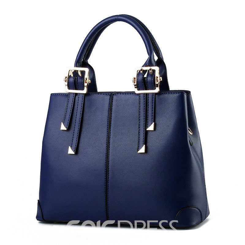 Ericdress Concise Solid Color PU Handbag