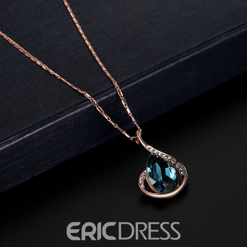 Ericdress Pear Cut Blue Sapphire Pendeng Jewelry Set
