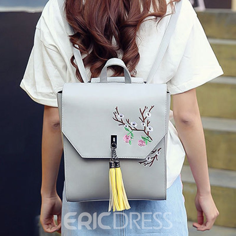 Ericdress Solid Color Tassels Mini Backpack