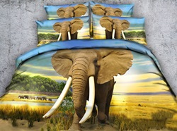 Image of 3D African Elephant Printed Cotton 4-Piece Bedding Sets/Duvet Covers