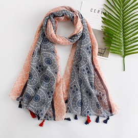 Ericdress Floral Printed Multifunctional Tassel Scarf for Women