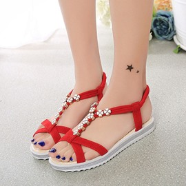 Ericdress Ethnic Beads Elastic Band Flat Sandals