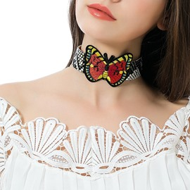 Ericdress Butterfly Pattern PU Choker Necklace