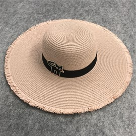Ericdress Cat Pattern Straw Sunhat