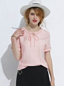 Ericdress Round Neck Lace Up Blouse