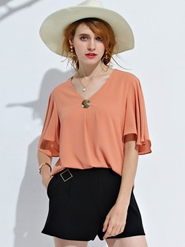 Ericdress V-Neck Chiffon Ruffle Sleeve Blouse