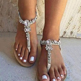 Ericdress White Rhinestone Thong Flat Sandals