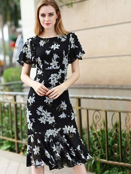 Ericdress Chiffon Floral Ruffle SleeveMermaid Sheath Dress