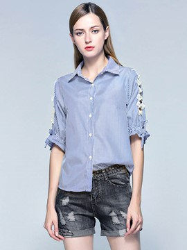 Ericdress Lapel Stripe Hollow Blouse