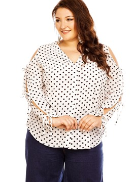 Ericdress Plus Size Polka Dots Blouse