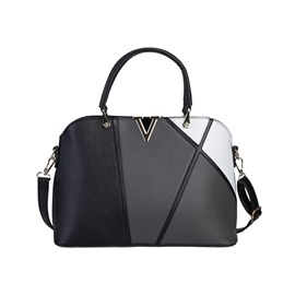 Ericdress Concise Color Block PU Leather Handbag