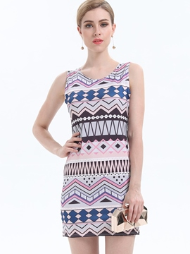 Ericdress Simple Print Back-Hollow U-Neck Bodycon Dress