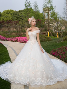Ericdress Off The Shoulder Ball Gown Appliques Color Wedding Dress