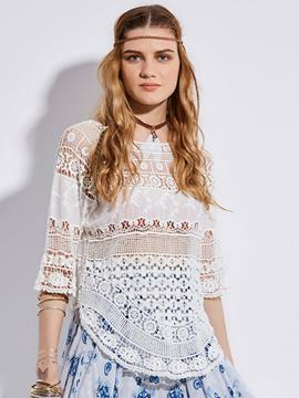 Ericdress Plain Hollow Lace Patchwork Blouse