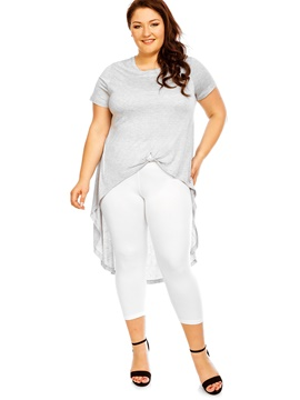 Ericdress Plus Size Silm Soild Color T-shirt