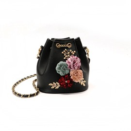 Ericdress Flower Diamond Bucket Shape Crossbody Bag