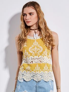 Ericdress Bohoartist Spaghetti Straps Lace Patchwork Tank Top