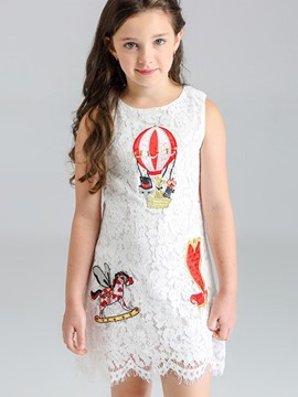 Ericdress White Lace Embroidery Sleeveless Girls Casual Dress