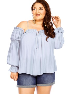 Ericdress Plus Size Off Shoulder Pleated Blouse