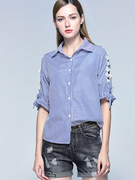 Ericdress Stripe Hollow Blouse