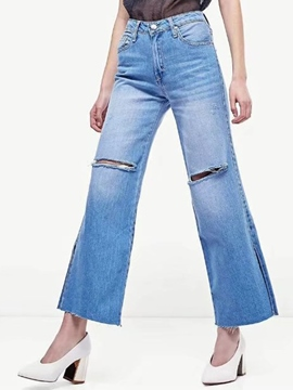 Ericdress High-Waist Hole Denim Bellbottoms Jeans
