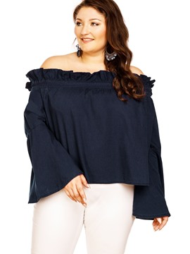 Ericdress Plus Size Slash Neck Flare Sleeve Blouse