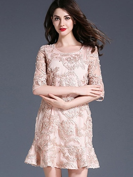 Ericdress Exquisite Embroidery Half Sleeves Mermaid A Line Dress