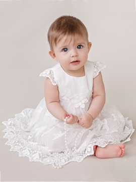 Ericdress Cap Sleeves Scoop Baptism Dress for Girls Christening