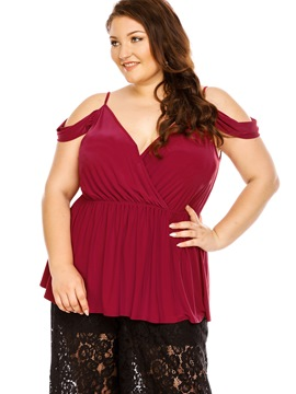 Ericdress Plus Size V-Neck Cold Shoulder Blouse