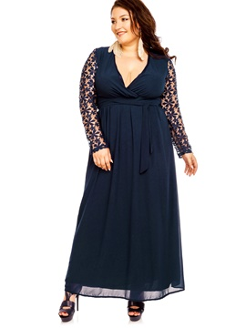Ericdress Plus Size V-Neck Hollow Lace Lace-Up Maxi Dress