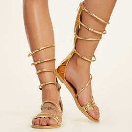 Ericdress Golden Cross Strappy Flat Sandals