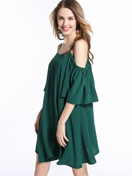 Ericdress Solid Color Spaghetti Strap Backless Flowy Casual Dress