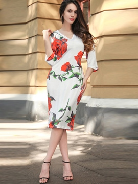 Ericdress Print V-Neck 3/4 Length Sleeves Sheath Dress