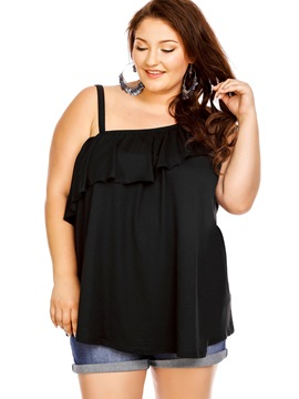 Ericdress Plus Size Oblique Shoulder Falbala Blouse