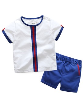 Ericdress Handsome Boys 2-Pcs Outfit Stripe Short T-Shirt And Pant