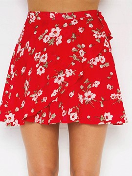 Ericdress Flower Print Chiffon Red Women's Skirts